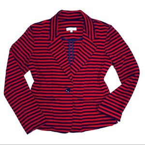 KENAR Navy & Red Striped Blazer Sz M